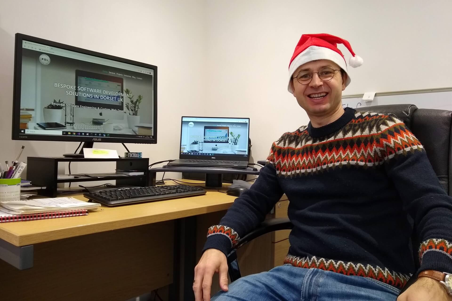 Poole Software employee wearing a Christmas jumper